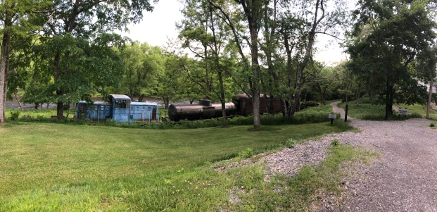 Some old train cars at the end of the trail in Cass.