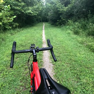 A typical West Virginia Rail Trail. In addition to paved o crushed limestone near cities/towns, the surfaces are often dirt, gravel or grass single/double track in more remote areas.