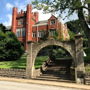 Salem College's Collegiate Gothic architecture.