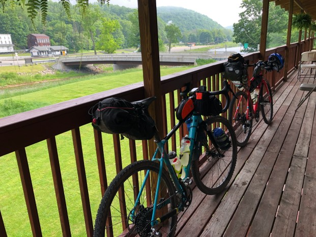 The bikes on the Bear Creek Lodge porch overlooking the river into Cass.