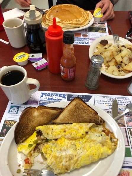 Awesome breakfast at Scotties in Elkins.