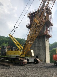 Supports for the last section of the corridor H highway across West Virginia which as been under construction for 30 years as part of the Appalachian Development Highway.