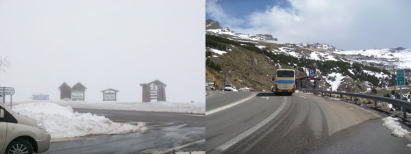 image comparison between a snowy and sunny day.